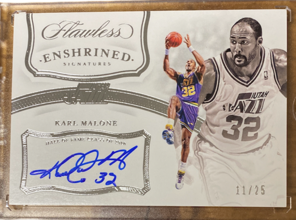 "KARL MALONE - 2019-20 Basketball Flawless ""Enshrined Signatures"" Auto 11/25"