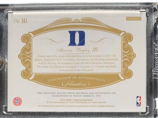 MARVIN BAGLEY III - 2018-19 Basketball Flawless Collegiate Sapphire Rookie Patch Auto 2/15