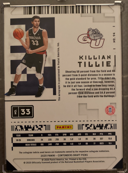 KILLIAN TILLIE - 2020-21 Basketball Contenders Draft Cracked Ice Rookie Auto 2/23