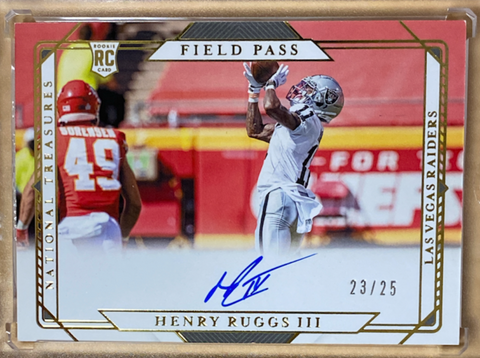 "HENRY RUGGS - 2020 Football National Treasures ""Field Pass"" Gold Rookie Auto 23/25"