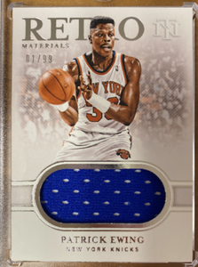 "PATRICK EWING - 2019-20 Basketball National Treasures ""Retro Materials"" Jersey 1/99"