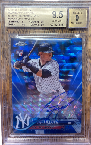 CLINT FRAZIER - 2018 Baseball Topps Chrome Blue Wave Refractor Rookie Auto 19/150  BGS 9.5