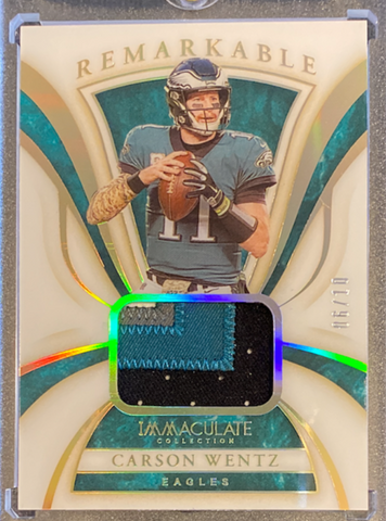 "CARSON WENTZ - 2020 Football Immaculate ""Remarkable"" Patch 6/10"