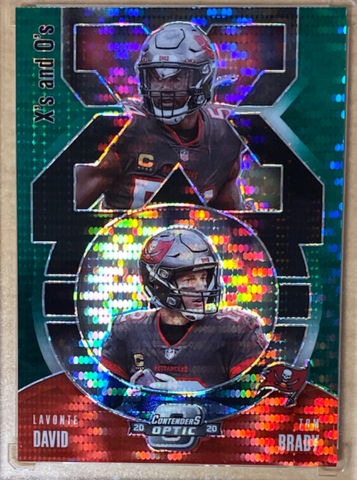"TOM BRADY / LAVONTE DAVID - 2020 Football Contenders Optic ""X's and O's"" Green Pulsar 5/27"