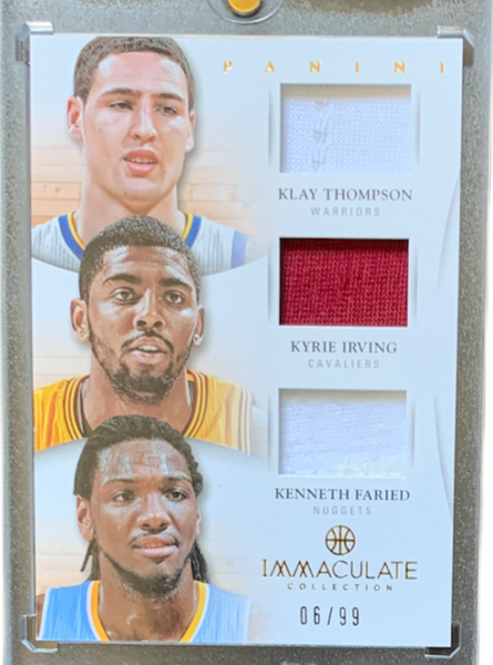 KLAY THOMPSON / KYRIE IRVING / KENNETH FARIED - 2012-13 Basketball Immaculate Collection Trios Jersey 6/99