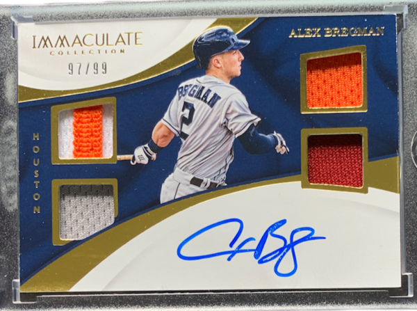 ALEX BREGMAN - 2017 Baseball Immaculate Collection Rookie Auto Quad Materials 97/99