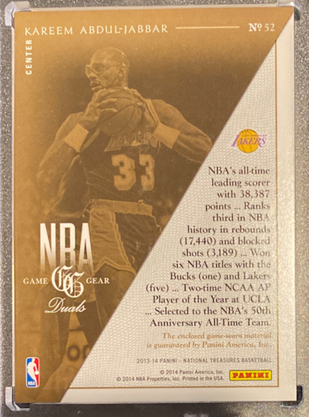 "KAREEM ABDUL-JABBAR - 2013-14 Basketball National Treasures ""Game Gear"" Jersey 9/49"