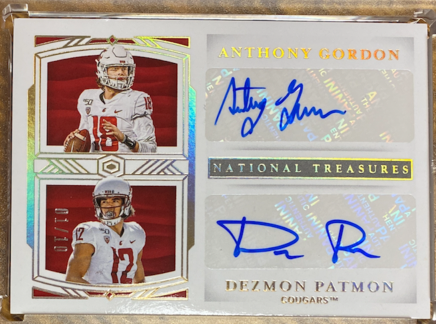 ANTHONY GORDON / DEZMON PATTON - 2020 Football National Treasures Collegiate Dual Auto 1/10