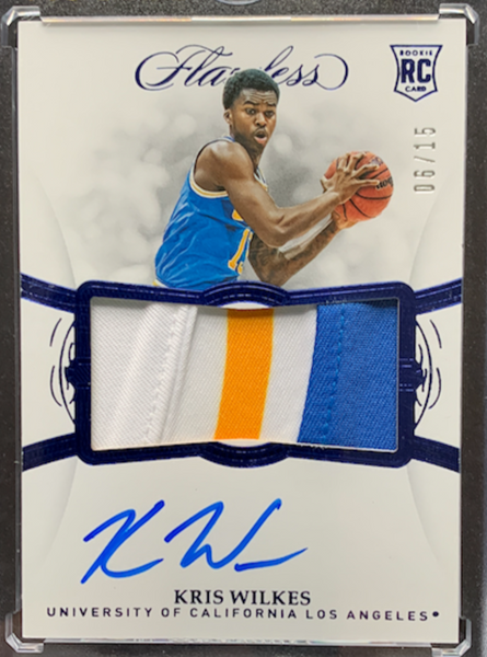 KRIS WILKES - 2019-20 Basketball Flawless Collegiate Sapphire Rookie Patch Auto 6/15
