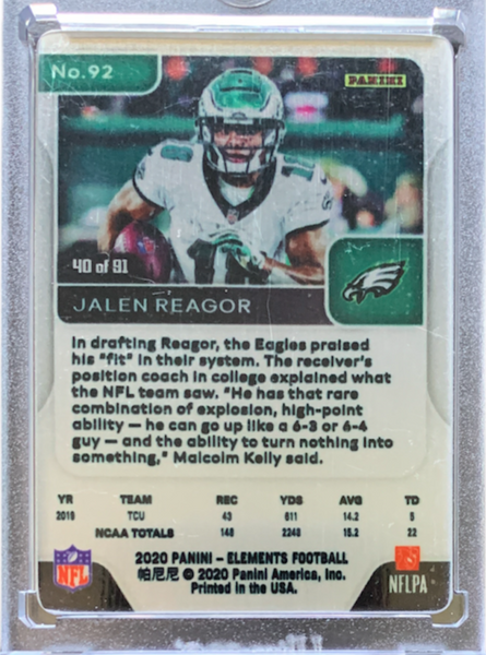 JALEN REAGOR - 2020 Football Elements Metal Gold Rookie 40/91