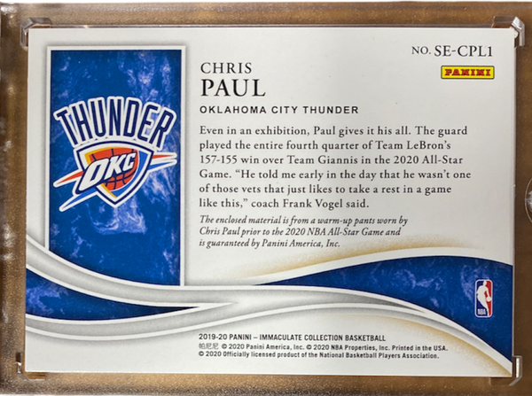 CHRIS PAUL - 2019-20 Basketball Immaculate All-Star Jersey 26/99