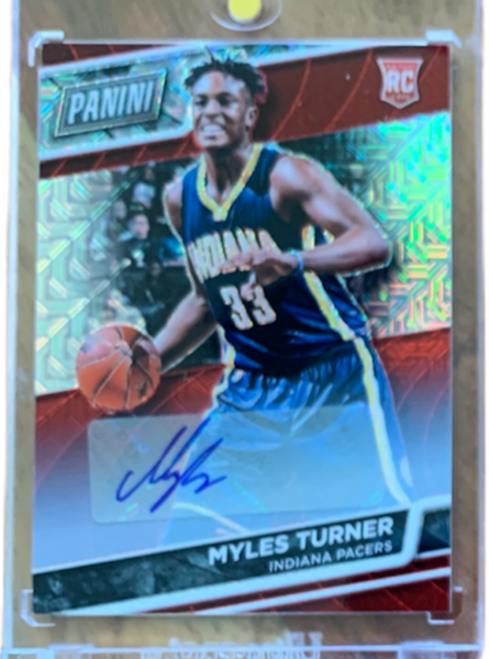 MYLES TURNER - 2016 Basketball National Convention VIP Kaleidoscope Red Rookie Auto 11/25