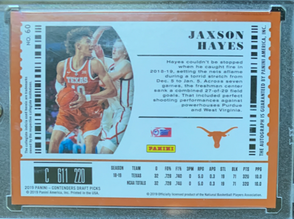 "JAXSON HAYES  - 2019-20 Basketball Contenders Draft Picks ""Draft Ticket"" Rookie Auto 20/99"