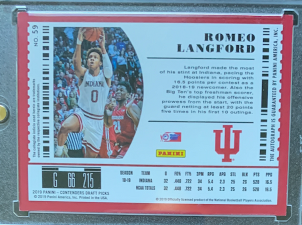 "ROMEO LANGFORD - 2019-20 Basketball Contenders Draft Picks ""College Ticket"" Rookie Auto"