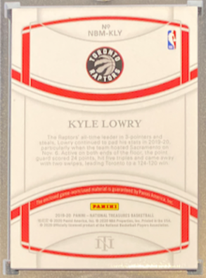 "KYLE LOWRY - 2019-20 Basketball National Treasures ""All-NBA Materials"" Patch 9/25"