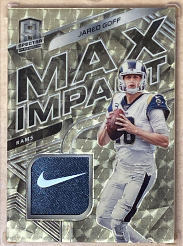 "JARED GOFF - 2020 Football Spectra ""Max Impact"" Gold Vinyl Patch 1/1"