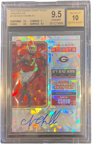 NICK CHUBB - 2018 Football Contenders Draft Cracked Ice Rookie Auto 10/23 BGS 9.5