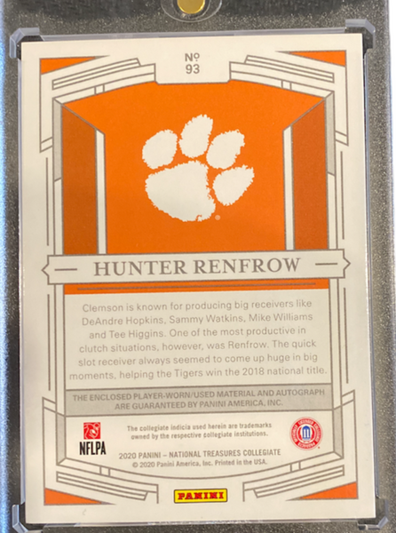 HUNTER RENFROW - 2020 Football National Treasures Collegiate Jersey Auto 12/99