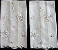 Embroidered White Linen Vintage Madeira Guest Towels, Pair
