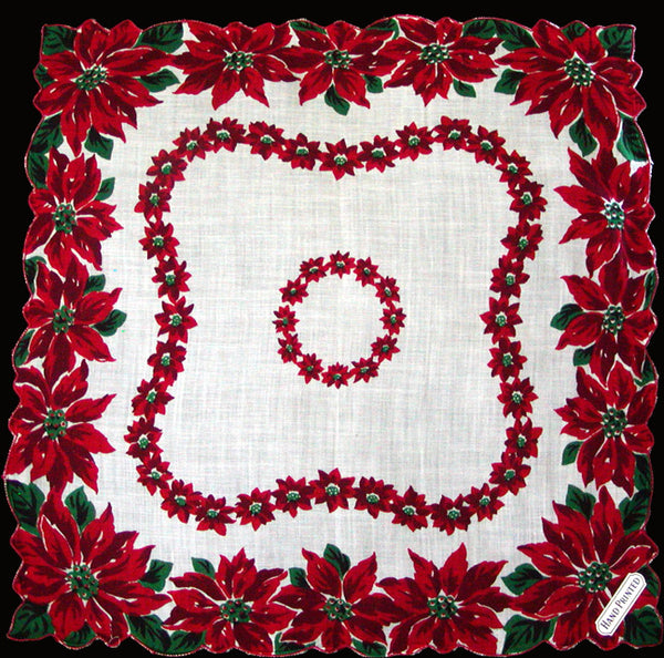 Poinsettia Borders Vintage Christmas Handkerchief MWT