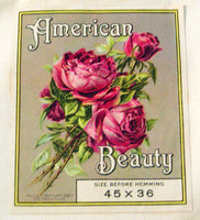 c1930's New Old Stock Single Vintage American Beauty Pillowcase