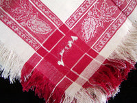 Antique Turkey Red White Linen Damask Napkins w Fringe