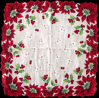 Poinsettia Edges Holly Berries Vintage Christmas Handkerchief