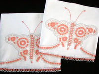 c1930 Vintage Pair Cotton Pillowcases, Tatted Butterflies Unused