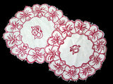 Pair of Monogram B Redwork Antique Doilies Pansy Border