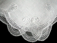 Curlicue White Lace Border Vintage Linen Wedding Handkerchief
