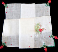 Dangling Rosebud Appliques Vintage Handkerchief Madeira Portugal