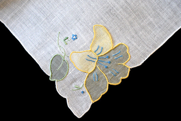 Madeira 3D Organdy Yellow Floral Applique Vintage Handkerchief
