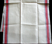Red & Blue Stripe Vintage Linen Kitchen Dish Towel