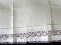 Damask Roses Irish Linen Vintage Guest Towel w Lavender Tatting