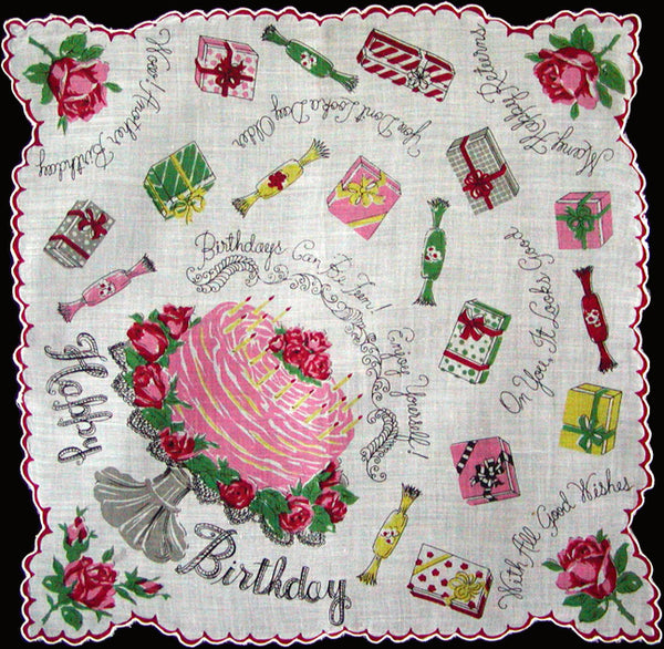 Happy Birthday Takes The Cake Vintage Handkerchief
