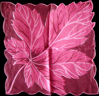 Big Pink Leaf Vintage Irish Linen Handkerchief, Herrmann