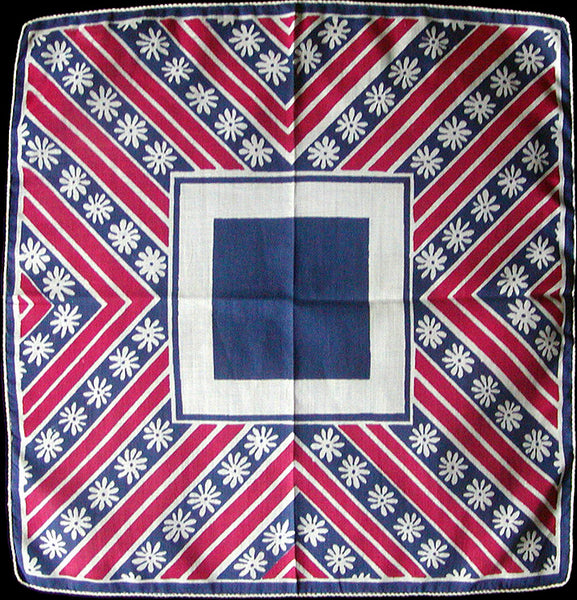 Abstract Red White Blue Floral Vintage Handkerchief
