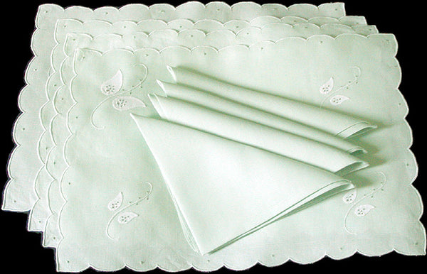 Botanical Madeira Embroidered Irish Linen Placemats & Napkins, Set of 8