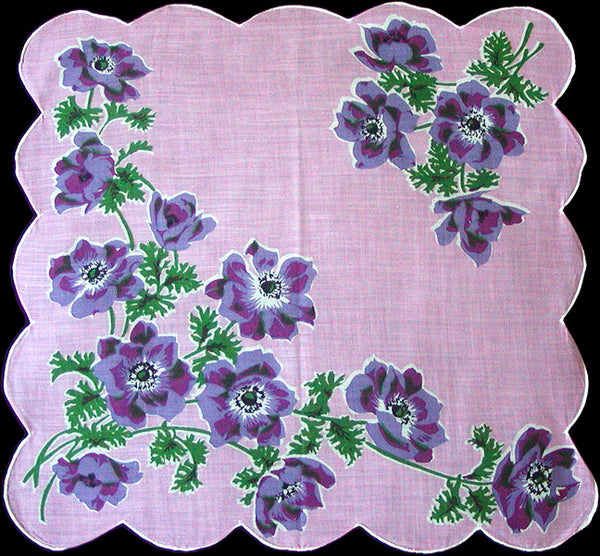 Purple Poppies on Pink Vintage Handkerchief