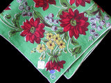 Red Dahlia Floral Print on Green Linen Vintage Handkerchief