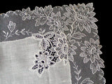 Vintage Linen & Lace Wedding Handkerchief, New Old Stock