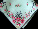 Blue Bows & Pink Flowers Vintage Handkerchief, Burmel Original Irish Linen