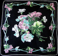 Botanical Floral and Leaves on Black Vintage Handkerchief, Irish Linen