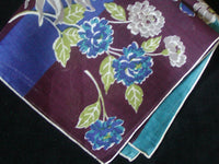 Dahlias and Stripes Vintage Linen Handkerchief. Hand Rolled Edges