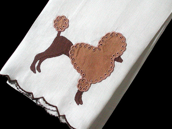 Brown Poodle Applique Vintage Madeira Linen Guest Towel