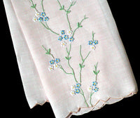 Pink Madeira Embroidered Linen Vintage Guest Towel
