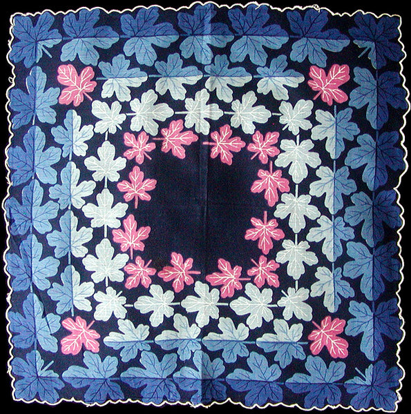 Field Maple Leaves in Blue and Pink Vintage Handkerchief