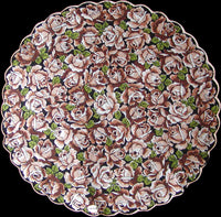 Brown and Tan Roses on Black Round Vintage Handkerchief