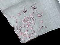 Pink Embroidery & Cutwork Vintage White Linen Handkerchief, Madeira Portugal