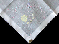 Embroidered Madeira Pastel Butterflies & Floral Vintage Handkerchief